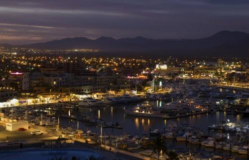 The nightview of Los Cabos Harbor Mexico